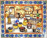 Art Escudellers MURAL ELABORAZIONE VINO CON CORNICE di ceramica dipinto a mano. 75 cm x 60 cm.