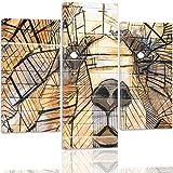 Feeby. Cuadro en lienzo - 3 partes - Cuadros decoración, Imagen impresa en lienzo, Canvas, Tipo A, 60x80 cm, PERRO, ANIMAL, MODERNO, MARRÓN