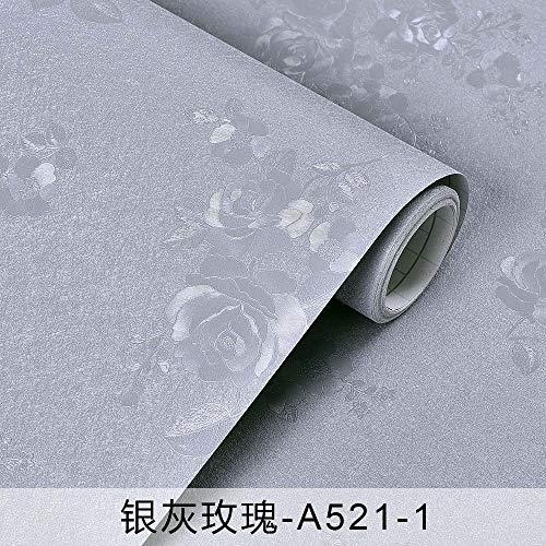Tapete selbstklebend, einfache einfarbige Tapete selbstklebend, Schlafzimmer Wohnzimmerwand A521-1 silbergrau rosa 60cm (Asiatische Bettdecken)