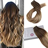 Moresoo 20pcs 14pouces/35cm Tape in Extensions Color #4 Brown Fading to #6 and #24...
