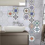 JY ART Y Wand-Aufkleber Küche Deko Badezimmer-Gestaltung - Küchen-Fliesen überkleben - Dekorative Bad-Gestaltung - Fliesen-Aufkleber - Marokkanischer Stil- LB006, Sets of 10 Pieces