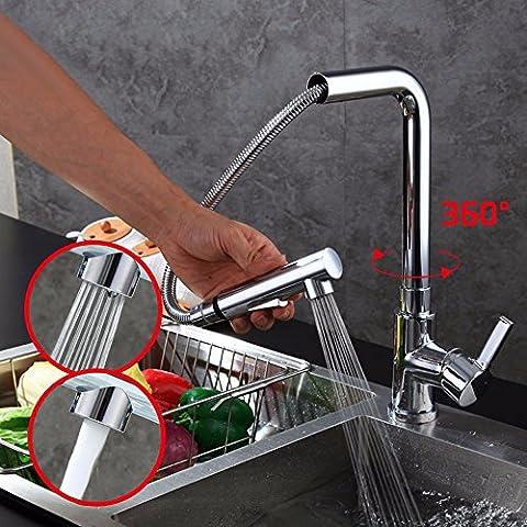 SDKKY La cuisine attire l'eau manufacturée, le bassin de lavage des légumes, le creux se retire l'eau robinet, l'eau télescopique coq, l'ensemble de l'eau chaude et froide robinet de cuivre,D