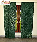 nandnandini Textil–Indischen handgefertigt Green Elephant Mandala Hippie Boho Bohemian Room Decor Tür Fenster Vorhang Fenster Behandlung Ethnic Baumwolle Vorhang Panel Fall Panel Sheer Schal Volants