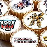 Cupcake-Törtchen-Dekoration mit Transformers-Motiv auf Zuckerguss, 4 cm, 24 Stück