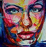 FineDecoArt Kollektion 'Helena' Gemälde Leinwandbild gemalt 100x100 Portrait Frau Gesicht Face bunt Pop Art Unikat Acrylbild modern abstrakt XXL quadratisch Kunst Malerei Büro Praxis Einrichtung