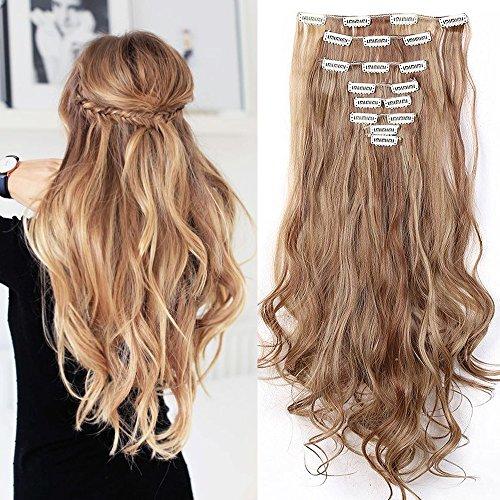 Hair extension per capelli con meche mossi lunghi 60cm full head 8 fasce estensioni, marrone chiaro mix biondo chiaro
