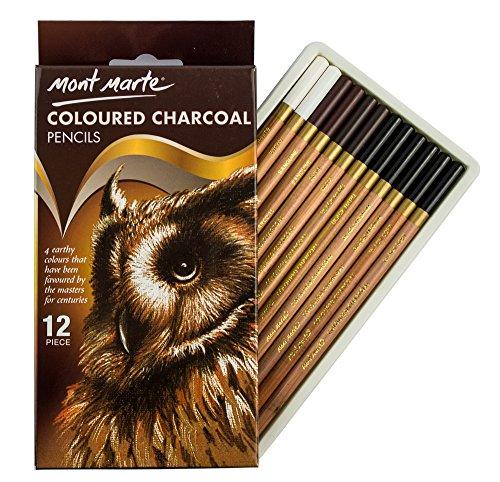 Mont Marte farbiges Kohlestifte Set - 12 Stück, Zeichenkohle in Farbe - Zeichenstifte, Zeichenbedarf, Künstlerstifte, ideal für beeindruckende Zeichnungen