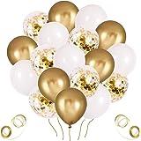 Palloncini Oro, 60 Pezzi Palloncini Dorati, Palloncini Coriandoli Oro, Palloncini Dorati e Bianchi per Compleanno, Matrimonio