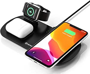 NEWDERY 3 in 1 Caricatore Wireless, Qi Ricarica Rapida Wireless, Fast Charger per iPhone SE/11/11 PRO Max/XS/XR/X/8 Plus, IWatch Series 5/4/3/2/1, Airpods 2/1/PRO