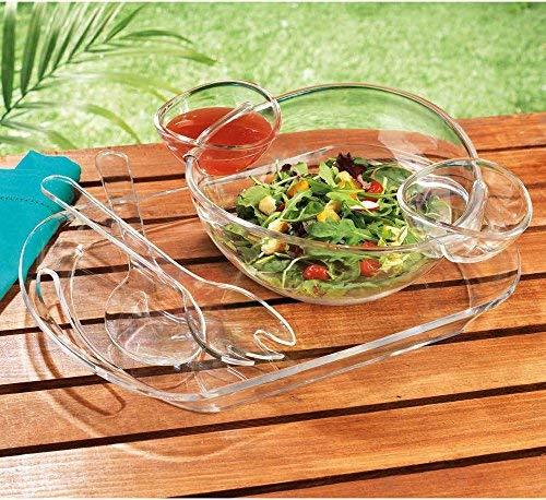 Elegant Home Acryl 6Pc Set Salatbesteck, | Chip & Dip Schale mit Servierteile auf Tablett. Chip Dip Set