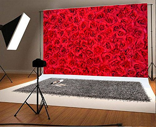 YongFoto 3x2m Foto Hintergrund Blume Blumenwand Rote Rose Trendiges Blumenmuster Abstraktes DIY Fotografie Hintergrund Fotoshooting Hochzeit Party Portraitfotos Fotografen Kinder Fotostudio Requisiten -