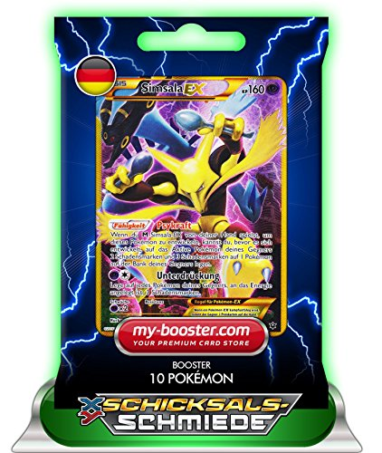 my-booster SIMSALA EX secrete Full Art 125/124 160KP XY10 Schicksalsschmiede - Booster mit 10 Deutsch Karten Pokemon (Pack Full Ex Pokemon Karten Art)
