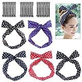FRCOLOR 5PCS femmes souple fil lapin oreille bandeau cheveux Wrap noeud Pin-Up Girl Fashion Scarf cravate polyvalente torsadée avec 30PCS épingles à cheveux...