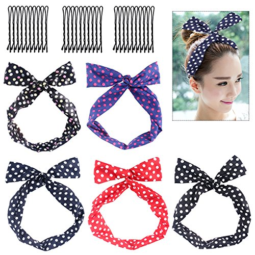 Frcolor 5pcs arco bowknot retráctil titular de pelo de alambre de lunares con 30pcs horquillas para mujeres y niñas
