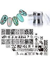 Born Pretty 4Pc Plaque d'estampage Hipster Rectangle Manucure Nail Art Modèle d'image et métal argenté Clear 3.9cm Silicone Jelly Stamper & BORN PRETTY Scraper