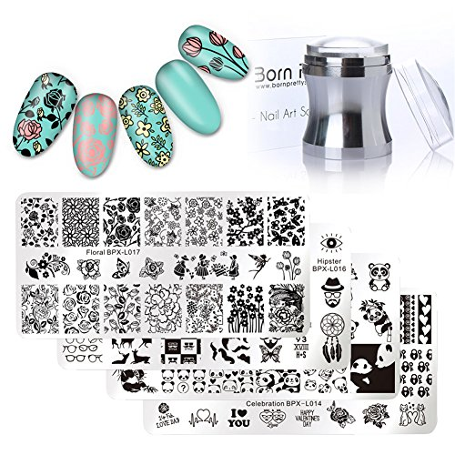 Born Pretty 4Pc Stamping Plate Hipster Rectangle Manicure Nail Art Image Template And Silver Metal Clear 3.9cm Silicone Jelly Stamper & BORN PRETTY Scraper - Platten Set Konad