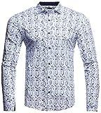 LEIF NELSON Herren Hemd Slim Fit Langarm Bügelleicht modernes Freizeithemd für Anzug Business Hochzeit Freizeit Party T-Shirt Langarmshirt Overshirt Kurzarm LN3415; Größe XL, Weiß