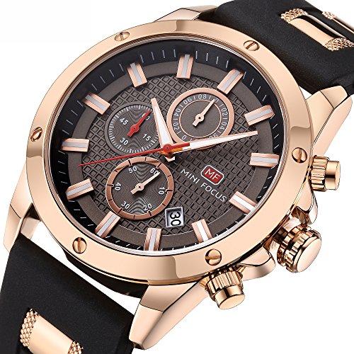 Herrenuhren Wasserdicht Herren Analog Quarzuhr mit Kautschukband Herren Sportuhr Chronograph Date Business Kleid Armbanduhr für Männer Herren Gold Schwarz Uhr