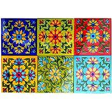 Shiv Kripa Blue Pottery Floor Decorative Tile Seamless Pattern Traditional Handmade Install Furniture Backsplash Designer Decorative Wall Floor Furniture 4 x 4 Inch Pack of 6 Tiles (Multi)