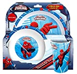 Geschirr-Set für Kinder, Superhelden-Design, 3-teiliges Set In offizieller Verpackung, Spiderman, 3-teiliges Essset