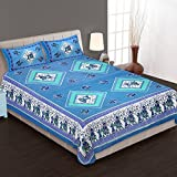 Bedding Bazar King Size Jaipuri Cotton Multi Color Printed 1 Double Bedsheet With 2 Pillow Covers