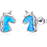 Opal Ohrringe, BAMOER Einhorn Katze Opal Ohrringe 925 Sterling Silber Opal Einhorn Katze Ohrstecker für Mädchen Damen…