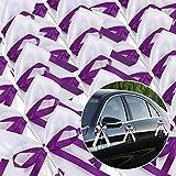 Yahee 30 Stück Schleifenband Antennenschleifen Deko Schleifen Band aus Satin (Weiß+Lila)