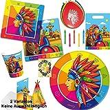 Indianer Partyset 70 tlg. Teller + Becher + Servietten + Tüten + Karten + Ballons + Kerzen für 8 Bleichgesichter