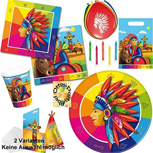 Unbekannt Indianer Partyset 70 TLG. Teller + Becher + Servietten + Tüten + Karten + Ballons + Kerzen für 8 Bleichgesichter (Teller Geburtstag 70.)