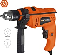 Vollplus 710 Watts Impact Drill 3000RPM, Corded Hammer and Drill 2 Mode in 1, Variable-speed Impact Drivers, Key Metal Chuck