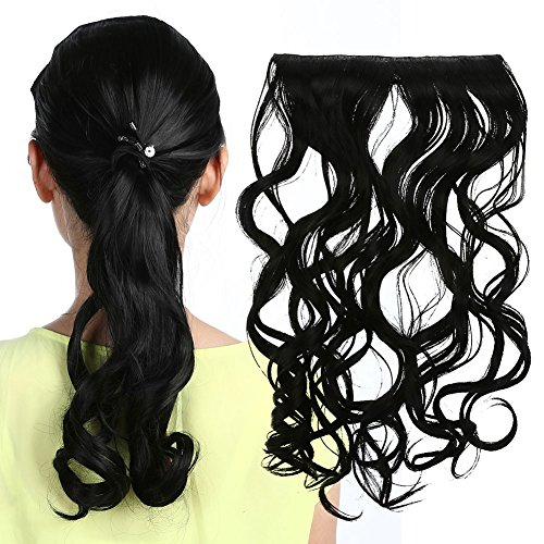 Rrimin Practical Hair Extension Human Hair Wigs Curly Clip Multi-Colour Optional Artificial Hair Beauty Style for Women 1.80-1.97 foot (Natural Black)