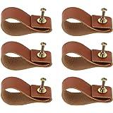 Homyl 6/10/12/18 x handgemaakte vintage kunstlederen meubelgreep lederen greep kastgreep knop, bruin - 6 stuks