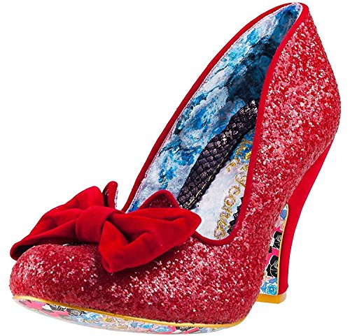 #Irregular Choice Nick Of Time Rouge Glitter Femmes Hi Talons Chaussures