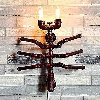 Wand lampe Retro Vintage Industrie, Wasserrohr Wandleuchte Modern Design Industrielampe Wandlampe Schwarz Metall Flurlampe Leseleuchte für Bar Restaurant Schlafzimme Esszimmer Beleuchtung E27 *2