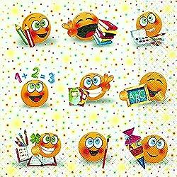 """20 Stück _ Servietten - """" Emoticon - lustige Gesichter / ABC Schule """" - Schulanfang Party / Schuleinführung - Kinderparty Schule - Schultüte Zuckertüte / Mädchen & Jungen - Serviette Tischserviette Papier - Schulbeginn Fest Deko - Einschulung"""