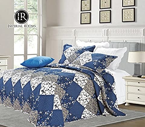 Luxury Vintage Floral 3 Piece Quilted Embroidered Patchwork Bedspread Throw Set Comforter Pillow Case Single,Double, King Size Bed (Double ( 220 X 240 CM ), Blue ( C47-10))