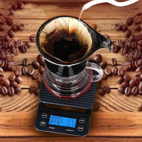 rokoo Leitern Elektronische Portable 3kg 0,1g oberirdisch Skala von Kaffee mit Timer Hochpräzise LCD Digitale Anzeige Skala von Küche - Skala-timer