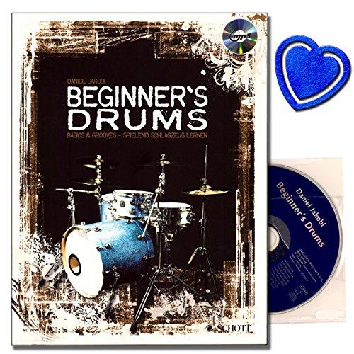 Beginner's Drums - Schlagzeug Lehrbuch mit CD von Daniel Jakobi - neuartigem Groove-Konzept - Grooves und Fills aus dem echten Leben - mit bunter herzförmiger Notenklammer