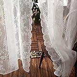 CYSTYLE 1er-Pack Gardine, weiß Spitze Vorhang aus hochwertigem mit transparentem Oberstoff (145W*180H)