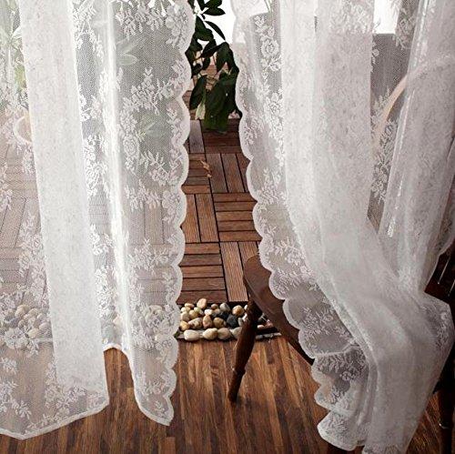 Tende In Poliestere Per Esterni.Cystyle 1 Confezione Tenda Bianco Pizzo Tenda In Tessuto Di Poliestere Di Alta Qualita Con Tessuto Esterno Trasparente Tessuto Bianco 145w 250h