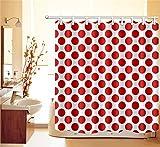 Punkt Muster Entwurf Duschvorhang Wohnkultur Große rote Punkte,weißer Hintergrund 150W x180H cm,wasserabweisend,Polyester Stoff,Badezimmervorhang mit HakenRing