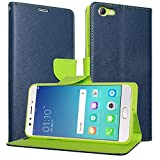 DMG Synthetic Leather Slim Wallet Flip Cover Case with Card Slots and Magnet Closure for Oppo F3 Plus (Pebble Blue)