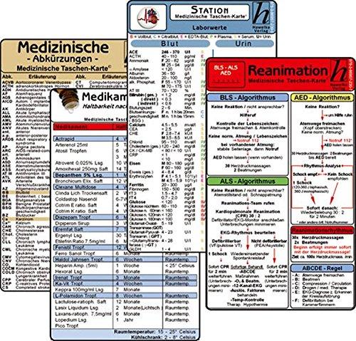 Stations Karten-Set - Laborwerte, Med. Abkürzungen, Medikamente - Haltbarkeit nach Anbruch, Reanimation - Pflege Station