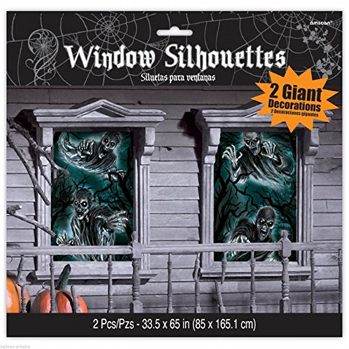 Fenster Dekoration Halloween Friedhof Dead End Cemetery 85cmx 165cm 2er Set.