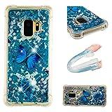 E-Mandala Samsung Galaxy S9 Hülle Glitzer Flüssig Liquid Glitter Case Cover Handyhülle Schutzhülle Transparent mit Muster Durchsichtig Tasche Silikon - Blumen Schmetterling Lila