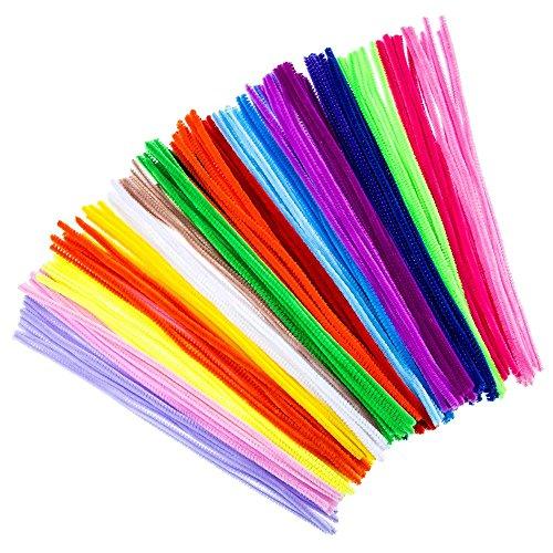 Hosaire 100Pcs Multicolor Mixed Plüsch Eisendraht Flexible Beflockung Craft Sticks Chenille Stiele Pfeifenreiniger für Kindergarten Kinder DIY handgefertigt Bildung Spielzeug