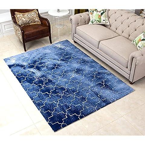 140 * 200cm semplice americano Carpet Scandinavian Style Carpet completa Negozio Soggiorno tappeto geometrico modello Tavolino Mat ( colore : Blu )