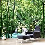 Fushoulu Kundengebundene Größe Natur Landschaft Foto Mural 3D Grün Wald Bambus Tapete Für Wohnzimmer SchlafzimmerHome Decoration-150X120Cm