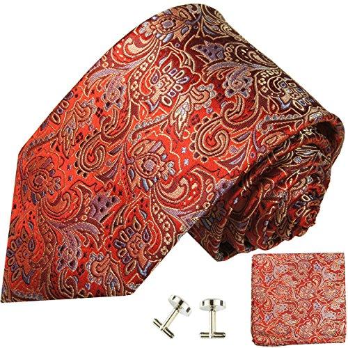 Cravate homme rouge or paisley ensemble de cravate 3 Pièces ( longueur 165cm )