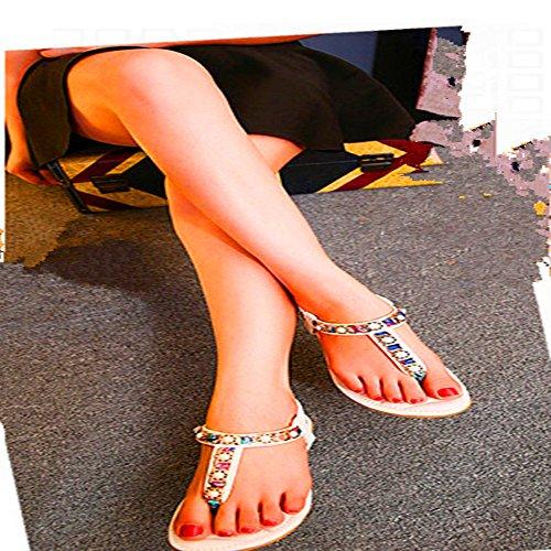 LXNW Style européen et américain Beach clip toe slope and leisure trend Rhinestone Herringbone ladies sandals Jaunâtre